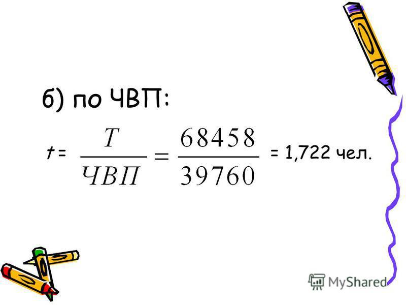 б) по ЧВП: t = = 1,722 чел.