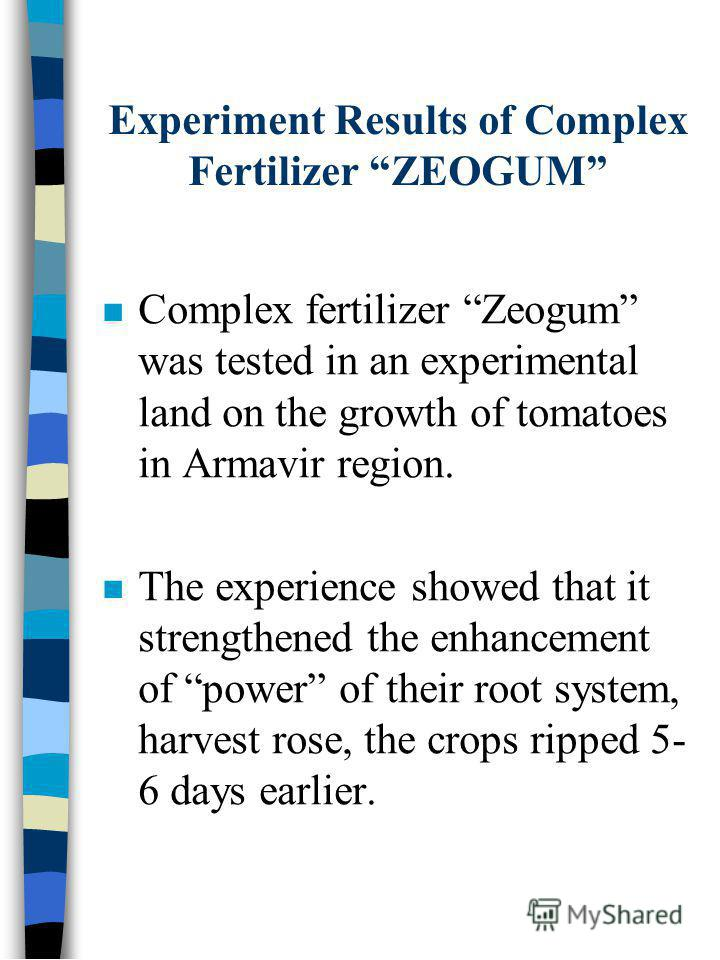 Experiment Results of Complex Fertilizer ZEOGUM Complex fertilizer Zeogum was tested in an experimental land on the growth of tomatoes in Armavir region. The experience showed that it strengthened the enhancement of power of their root system, harves