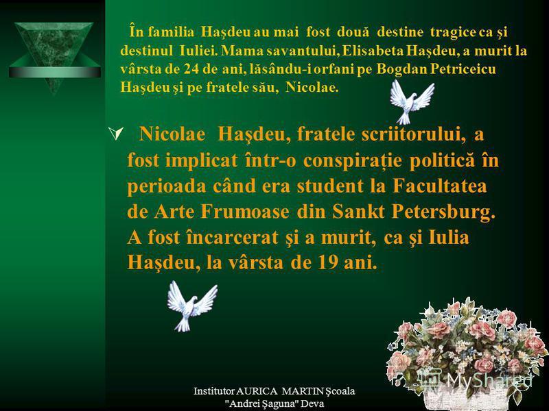Iulia Haşdeu, fiica savantului Bogdan Petriceicu Haşdeu, a trăit între anii 1869 şi 1888. A murit înainte de a împlini 19 ani, bolnavă de tuberculoză. Iulia a fost un copil precoce. La vârsta preşcolară, ea ştia să scrie şi să citească. La 6 ani şi 7