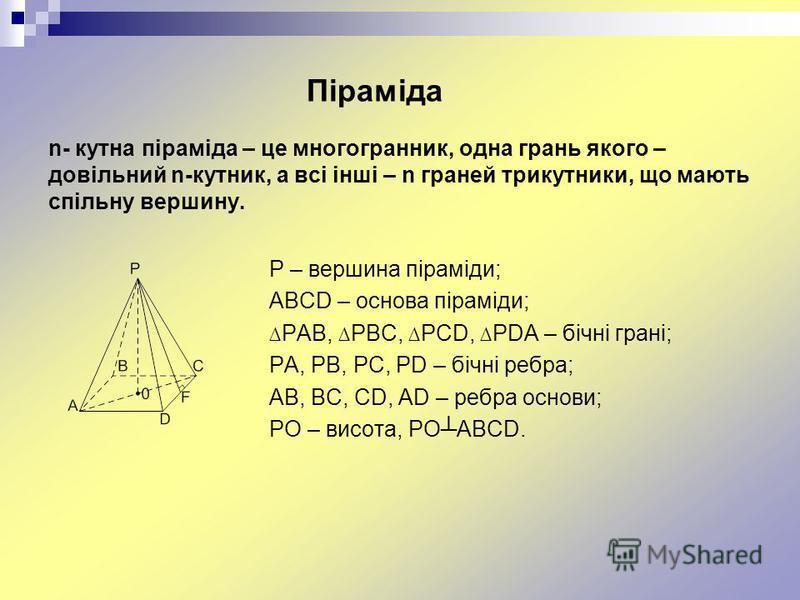 Піраміда n- кутна піраміда – це многогранник, одна грань якого – довільний n-кутник, а всі інші – n граней трикутники, що мають спільну вершину. P – вершина піраміди; ABCD – основа піраміди; PAB, PBC, PCD, PDA – бічні грані; PA, PB, PC, PD – бічні ре