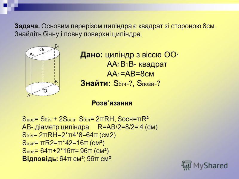 Задача. Осьовим перерізом циліндра є квадрат зі стороною 8см. Знайдіть бічну і повну поверхні циліндра. Дано: циліндр з віссю ОО 1 АА 1 В 1 В- квадрат АА 1 =АВ=8см Знайти: S біч -?, S повн -? Розвязання S пов = S біч + 2S осн S біч = 2πRH, Sосн=πR² A