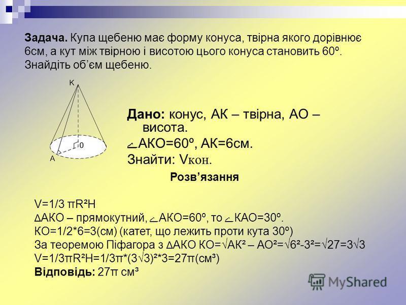 Задача. Купа щебеню має форму конуса, твірна якого дорівнює 6см, а кут між твірною і висотою цього конуса становить 60º. Знайдіть обєм щебеню. Дано: конус, АК – твірна, АО – висота. ےАКО=60º, АК=6см. Знайти: V кон. Розвязання V=1/3 πR²H Δ АКО – прямо