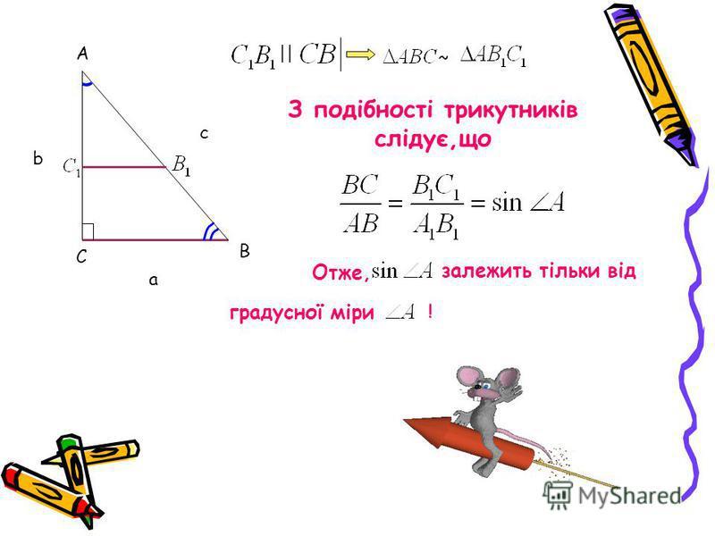 С А В c b a З подібності трикутників слідує,що || ~ Отже, залежить тільки від градусної міри !