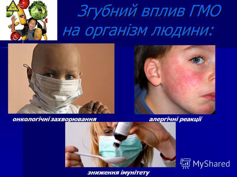 Згубний вплив ГМО на організм людини: Згубний вплив ГМО на організм людини: онкологічні захворювання зниження імунітету алергічні реакції