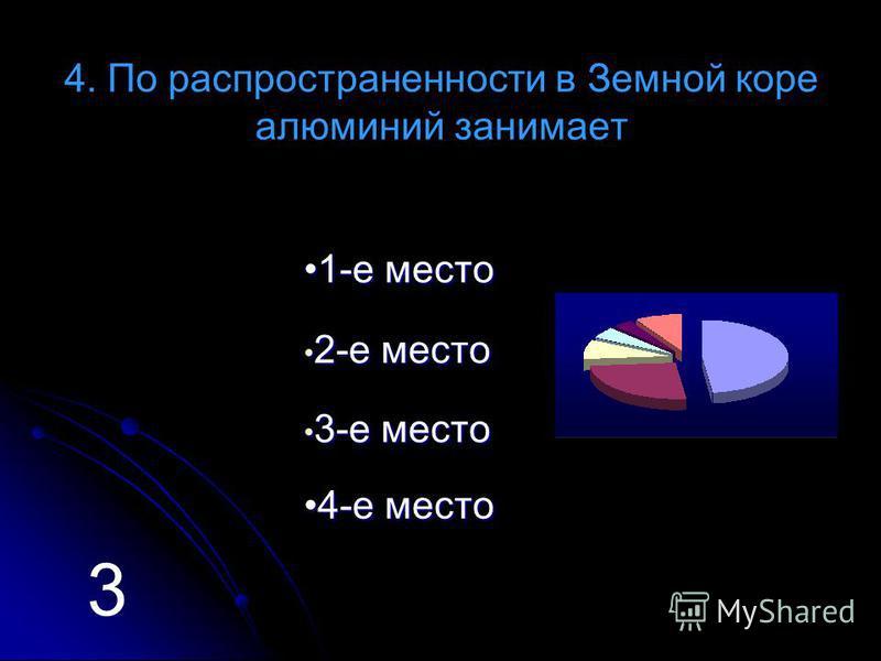 4. По распространенности в Земной коре алюминий занимает 11 ---- ее м м м м ее сс тттт ооо 2 2 ---- ее м м м м ее сс тттт ооо 3 3 ---- ее м м м м ее сс тттт ооо 44 ---- ее м м м м ее сс тттт ооо 3