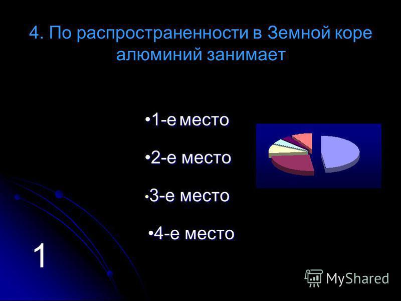 4. По распространенности в Земной коре алюминий занимает 11 ---- ее м м м м ее сс тттт ооо 22 ---- ее м м м м ее сс тттт ооо 3 3 ---- ее м м м м ее сс тттт ооо 44 ---- ее м м м м ее сс тттт ооо 1