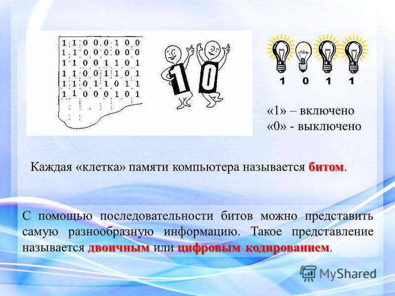 «1» – включено «0» - выключено битом Каждая «клетка» памяти компьютера называется битом. двоичным цифровым кодированием С помощью последовательности битов можно представить самую разнообразную информацию. Такое представление называется двоичным или ц