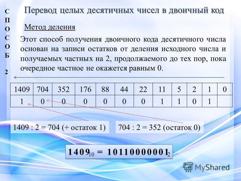 Перевод целых десятичных чисел в двоичный код Метод деления Этот способ получения двоичного кода десятичного числа основан на записи остатков от деления исходного числа и получаемых частных на 2, продолжаемого до тех пор, пока очередное частное не ок