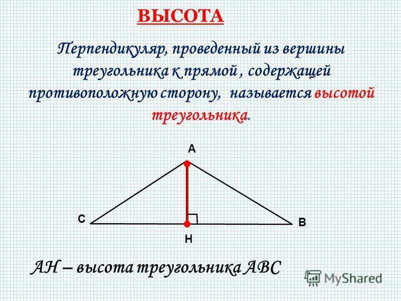 Перпендикуляр, проведенный из вершины треугольника к прямой, содержащей противоположную сторону, называется высотой треугольника. А В С H АН – высота треугольника АВС ВЫСОТА