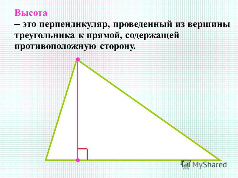 Высота – это перпендикуляр, проведенный из вершины треугольника к прямой, содержащей противоположную сторону.