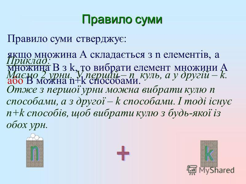 Правило суми Правило суми стверджує: якщо множина А складається з n елементів, а множина В з k, то вибрати елемент множини А або В можна n+k способами. Приклад: Маємо 2 урни. У першій – n куль, а у другій – k. Отже з першої урни можна вибрати кулю n