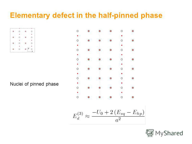 Elementary defect in the half-pinned phase Nuclei of pinned phase