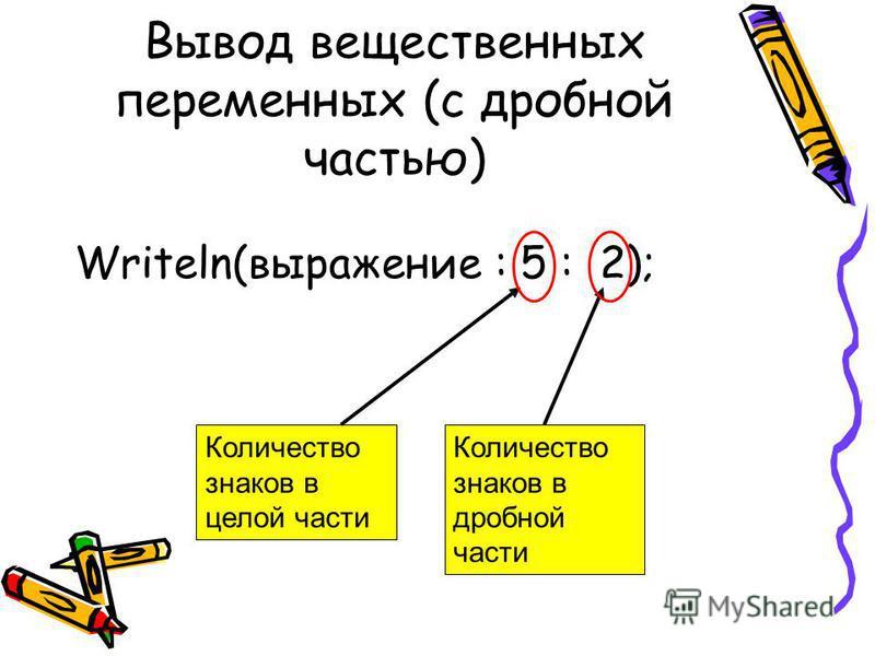 Вывод вещественных переменных (с дробной частью) Writeln(выражение : 5 : 2); Количество знаков в целой части Количество знаков в дробной части