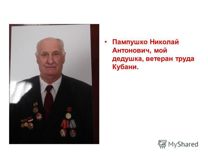 Пампушко Николай Антонович, мой дедушка, ветеран труда Кубани.