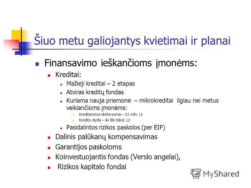 Šiuo metu galiojantys kvietimai ir planai Finansavimo ieškančioms įmonėms: Kreditai: Mažieji kreditai – 2 etapas Atviras kreditų fondas Kuriama nauja priemonė – mikrokreditai ilgiau nei metus veikiančioms įmonėms: Kreditavimui skirta suma – 11 mln. L