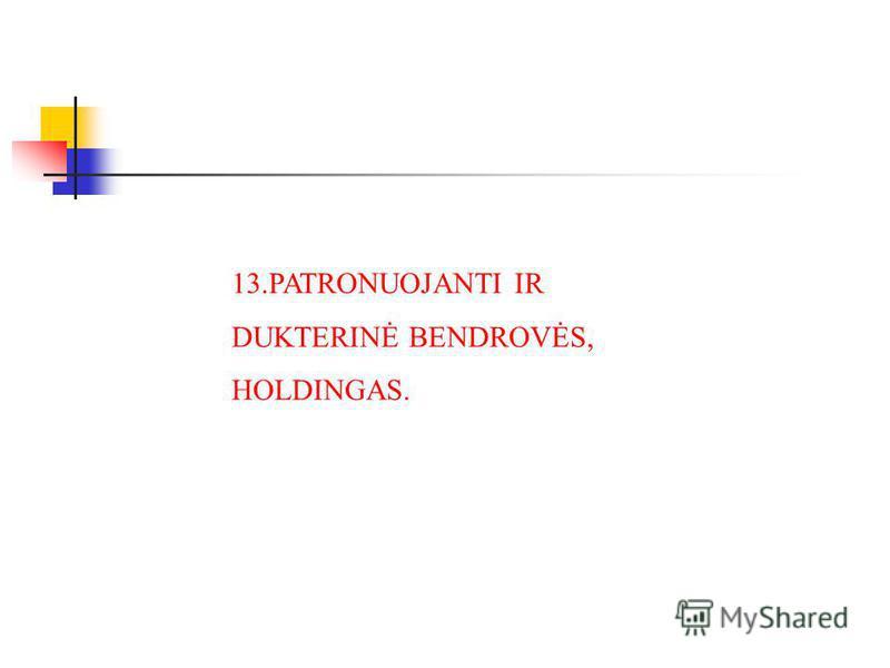 13.PATRONUOJANTI IR DUKTERINĖ BENDROVĖS, HOLDINGAS.