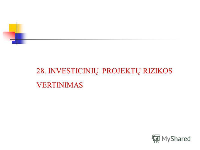 28. INVESTICINIŲ PROJEKTŲ RIZIKOS VERTINIMAS