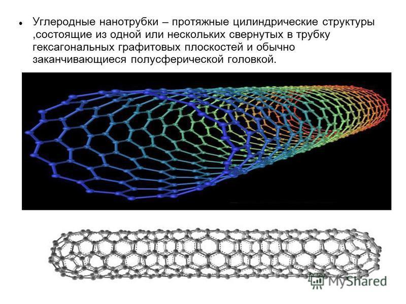 Углеродные нанотрубки – протяжные цилиндрические структуры,состоящие из одной или нескольких свернутых в трубку гексагональных графитовых плоскостей и обычно заканчивающиеся полусферической головкой.