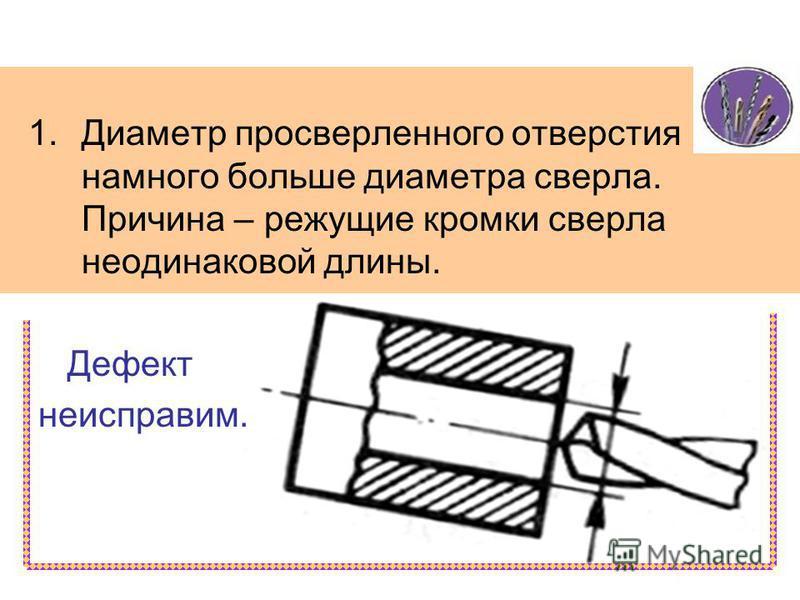 1. Диаметр просверленного отверстия намного больше диаметра сверла. Причина – режущие кромки сверла неодинаковой длины. Дефект неисправим.