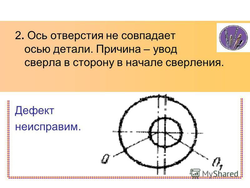 2. Ось отверстия не совпадает с осью детали. Причина – увод сверла в сторону в начале сверления. Дефект неисправим.