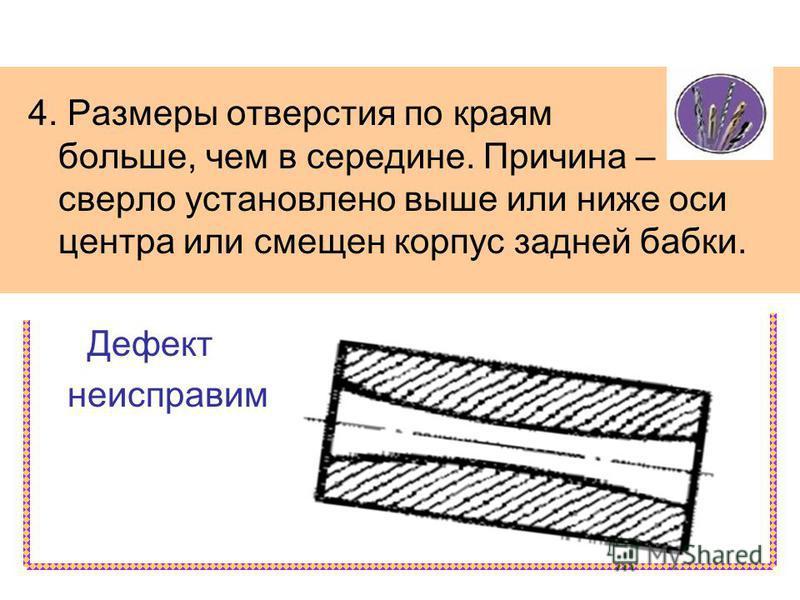 4. Размеры отверстия по краям больше, чем в середине. Причина – сверло установлено выше или ниже оси центра или смещен корпус задней бабки. Дефект неисправим