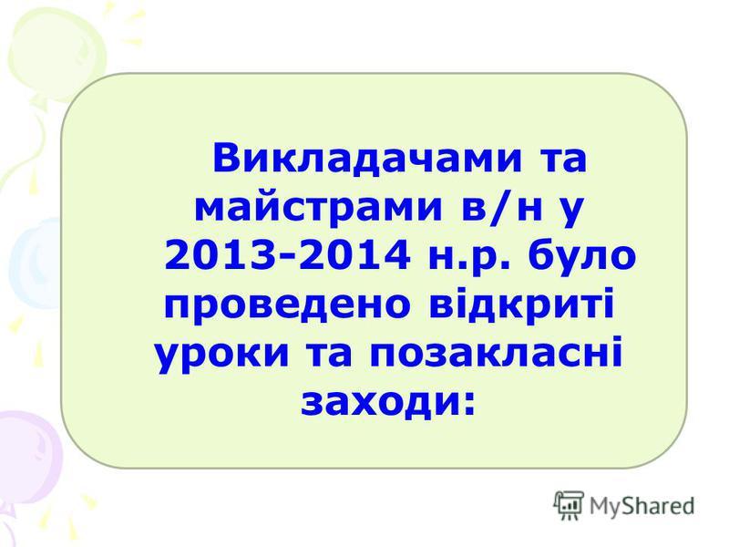 Викладачами та майстрами в/н у 2013-2014 н.р. було проведено відкриті уроки та позакласні заходи: