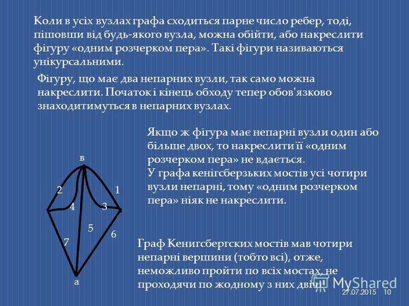 Коли в усіх вузлах графа сходиться парне число ребер, тоді, пішовши від будь-якого вузла, можна обійти, або накреслити фігуру «одним розчерком пера». Такі фігури називаються унікурсальними. Фігуру, що має два непарних вузли, так само можна накреслити