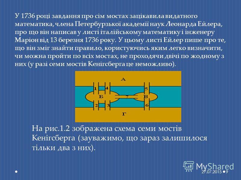 У 1736 році завдання про сім мостах зацікавила видатного математика, члена Петербурзької академії наук Леонарда Ейлера, про що він написав у листі італійському математику і інженеру Маріон від 13 березня 1736 року. У цьому листі Ейлер пише про те, що