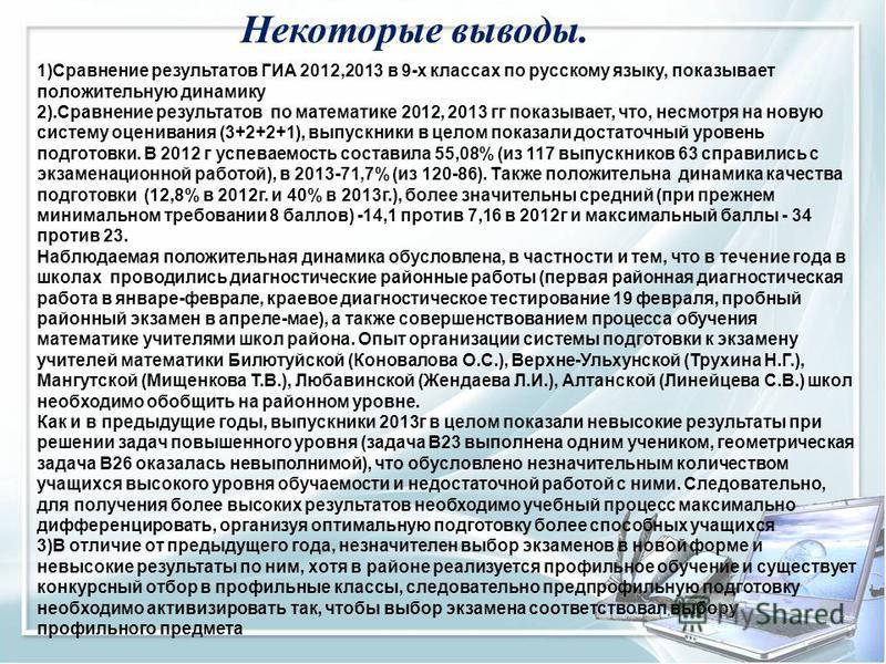 Некоторые выводы. 1)Сравнение результатов ГИА 2012,2013 в 9-х классах по русскому языку, показывает положительную динамику 2).Сравнение результатов по математике 2012, 2013 гг показывает, что, несмотря на новую систему осенивания (3+2+2+1), выпускник