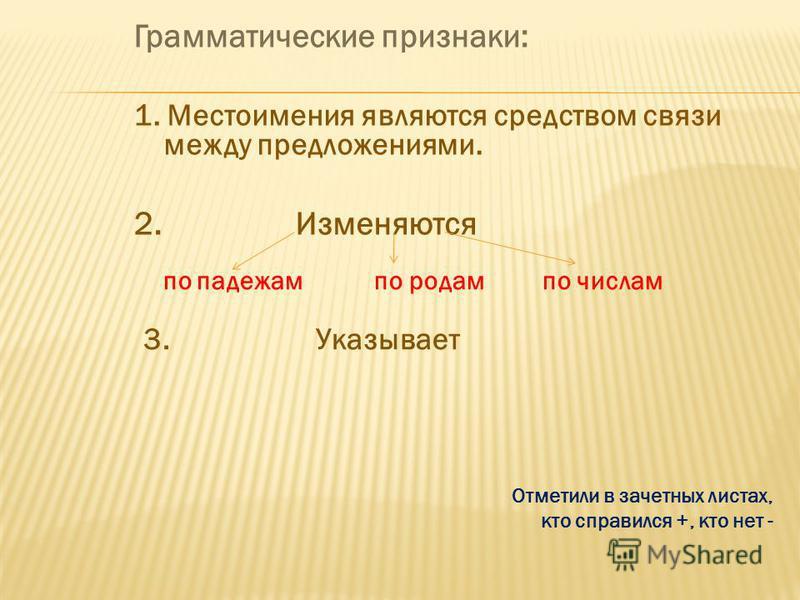 Грамматические признаки: 1. Местоимения являются средством связи между предложениями. 2. Изменяются Отметили в зачетных листах, кто справился +, кто нет - по падежам по родам по числам 3. Указывает