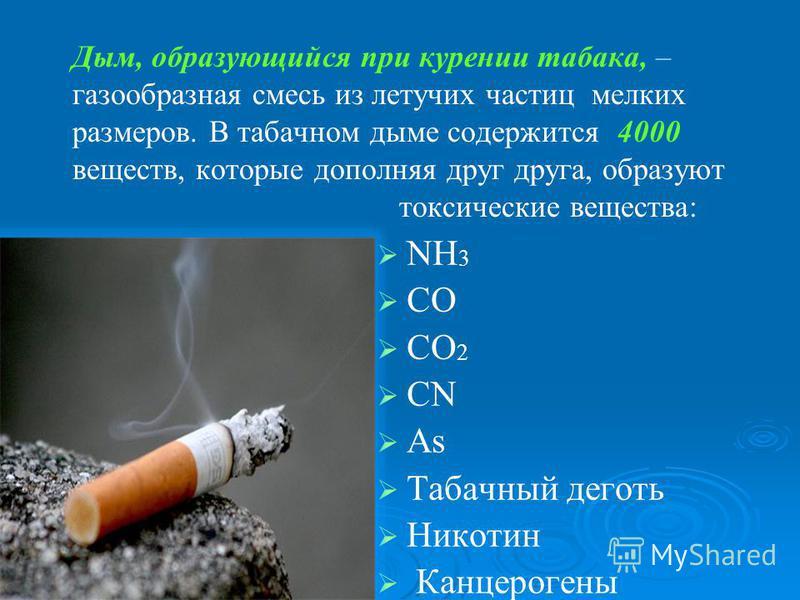 Дым, образующийся при курении табака, – газообразная смесь из летучих частиц мелких размеров. В табачном дыме содержится 4000 веществ, которые дополняя друг друга, образуют токсические вещества: NH 3 CO CO 2 CN As Табачный деготь Никотин Канцерогены