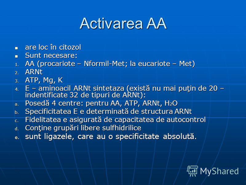 Activarea AA are loc în citozol are loc în citozol Sunt necesare: Sunt necesare: 1. AA (procariote – Nformil-Met; la eucariote – Met) 2. ARNt 3. ATP, Mg, K 4. E – aminoacil ARNt sintetaza (există nu mai puţin de 20 – indentificate 32 de tipuri de ARN