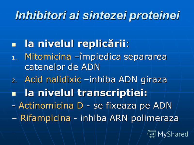 Inhibitori ai sintezei proteinei la nivelul replicării: la nivelul replicării: 1. Mitomicina –împiedica separarea catenelor de ADN 2. Acid nalidixic –inhiba ADN giraza la nivelul transcriptiei: la nivelul transcriptiei: - Actinomicina D - se fixeaza