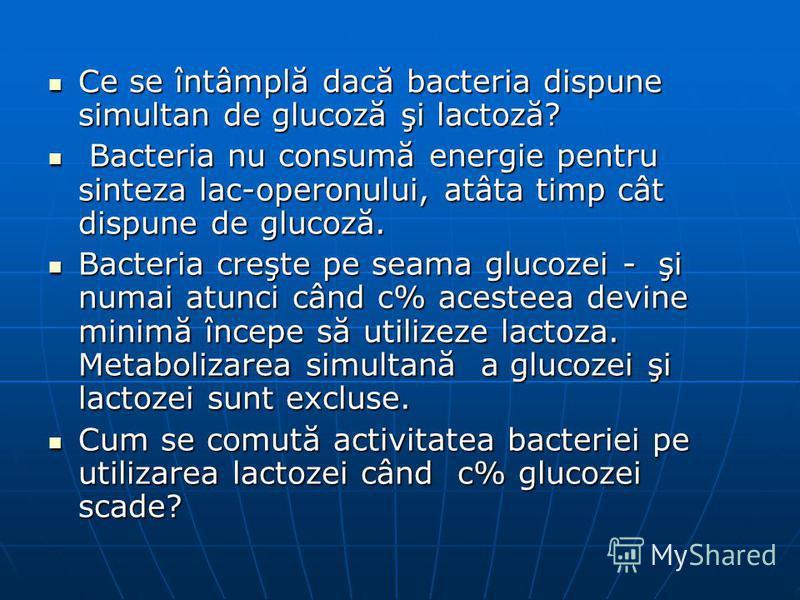 Ce se întâmplă dacă bacteria dispune simultan de glucoză şi lactoză? Ce se întâmplă dacă bacteria dispune simultan de glucoză şi lactoză? Bacteria nu consumă energie pentru sinteza lac-operonului, atâta timp cât dispune de glucoză. Bacteria nu consum