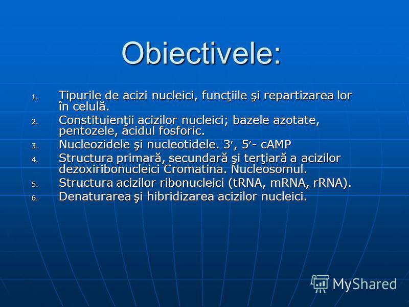 Obiectivele: 1. Tipurile de acizi nucleici, funcţiile şi repartizarea lor în celulă. 2. Constituienţii acizilor nucleici; bazele azotate, pentozele, acidul fosforic. 3. Nucleozidele şi nucleotidele. 3, 5- cAMP 4. Structura primară, secundară şi terţi