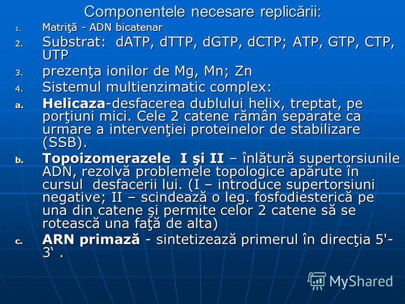 Componentele necesare replicării: 1. Matriţă - ADN bicatenar 2. Substrat: dATP, dTTP, dGTP, dCTP; ATP, GTP, CTP, UTP 3. prezenţa ionilor de Mg, Mn; Zn 4. Sistemul multienzimatic complex: a. Helicaza-desfacerea dublului helix, treptat, pe porţiuni mic