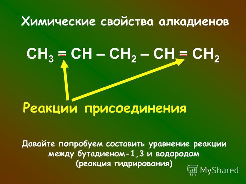 Химические свойства алкадиенов СН 3 = СН – СН 2 – СН = СН 2 Реакции присоединения Давайте попробуем составить уравнение реакции между бутадиеном-1,3 и водородом (реакция гидрирования)