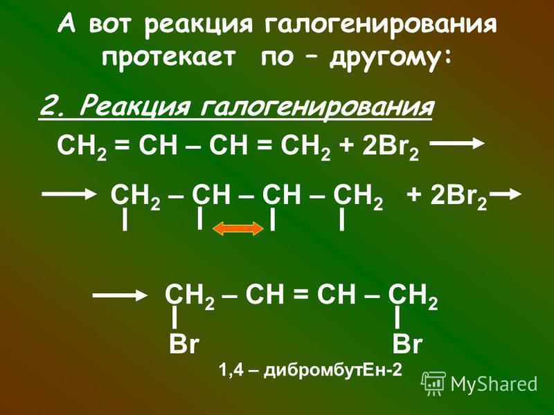 А вот реакция галогенирования протекает по – другому: 2. Реакция галогенирования СН 2 = СН – СН = СН 2 + 2Br 2 СН 2 – СН – СН – СН 2 + 2Br 2 СН 2 – СН = СН – СН 2 Br Br 1,4 – дибромбут Ен-2