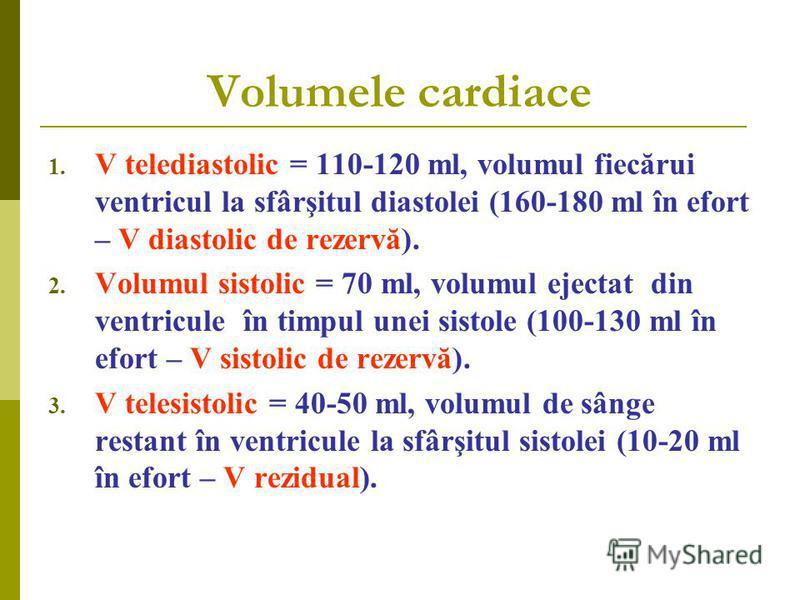 Volumele cardiace 1. V telediastolic = 110-120 ml, volumul fiecărui ventricul la sfârşitul diastolei (160-180 ml în efort – V diastolic de rezervă). 2. Volumul sistolic = 70 ml, volumul ejectat din ventricule în timpul unei sistole (100-130 ml în efo
