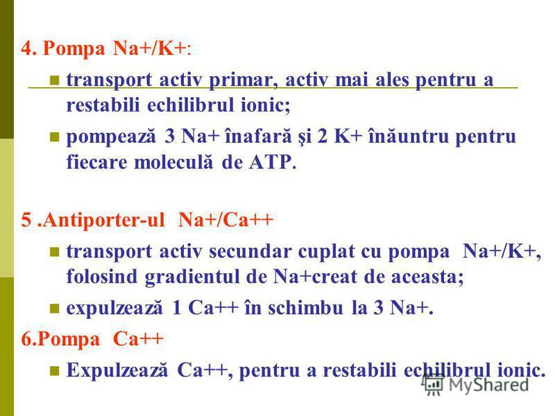 4. Pompa Na+/K+: transport activ primar, activ mai ales pentru a restabili echilibrul ionic; pompează 3 Na+ înafară şi 2 K+ înăuntru pentru fiecare moleculă de ATP. 5.Antiporter-ul Na+/Ca++ transport activ secundar cuplat cu pompa Na+/K+, folosind gr
