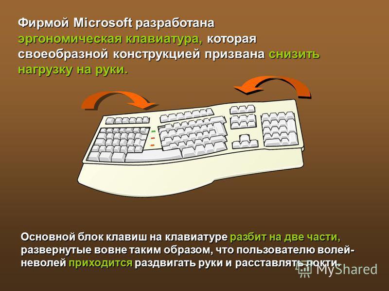 Основной блок клавиш на клавиатуре разбит на две части, развернутые вовне таким образом, что пользователю волей- неволей приходится раздвигать руки и расставлять локти. Фирмой Microsoft разработана эргономическая клавиатура, которая своеобразной конс