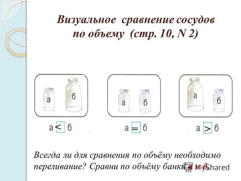 Визуальное сравнение сосудов по объему (стр. 10, N 2) = > < Всегда ли для сравнения по объёму необходимо переливание? Сравни по объёму банки а и б.