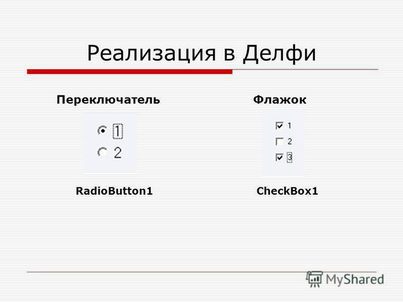Реализация в Делфи Переключатель Флажок RadioButton1CheckBox1
