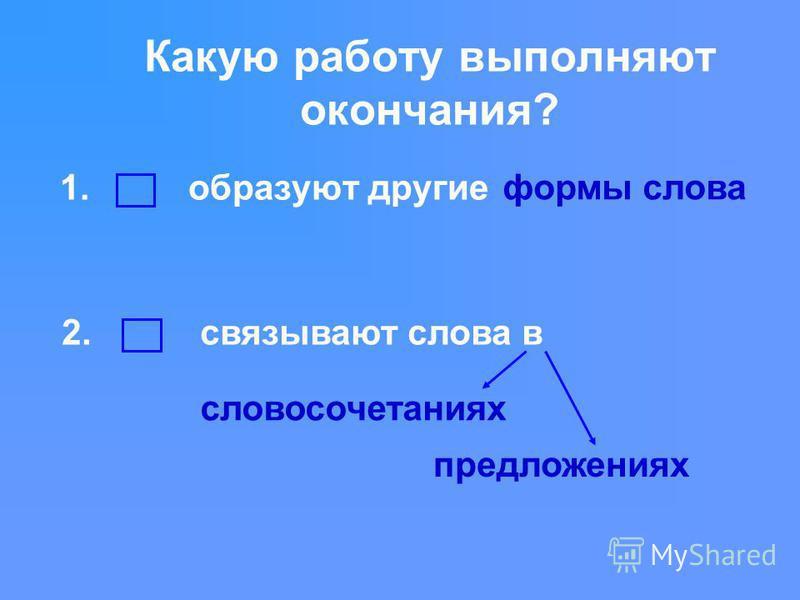 Какую работу выполняют окончания? 1. образуют другие 2. связывают слова в формы слова словосочетаниях предложениях