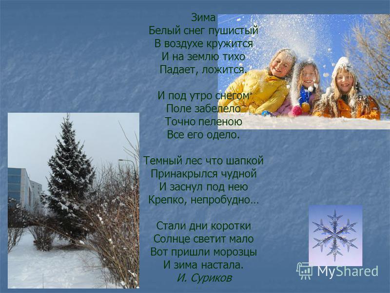Зима Белый снег пушистый В воздухе кружится И на землю тихо Падает, ложится. И под утро снегом Поле забелело Точно пеленою Все его одело. Темный лес что шапкой Принакрылся чудной И заснул под нею Крепко, непробудно… Стали дни коротки Солнце светит ма