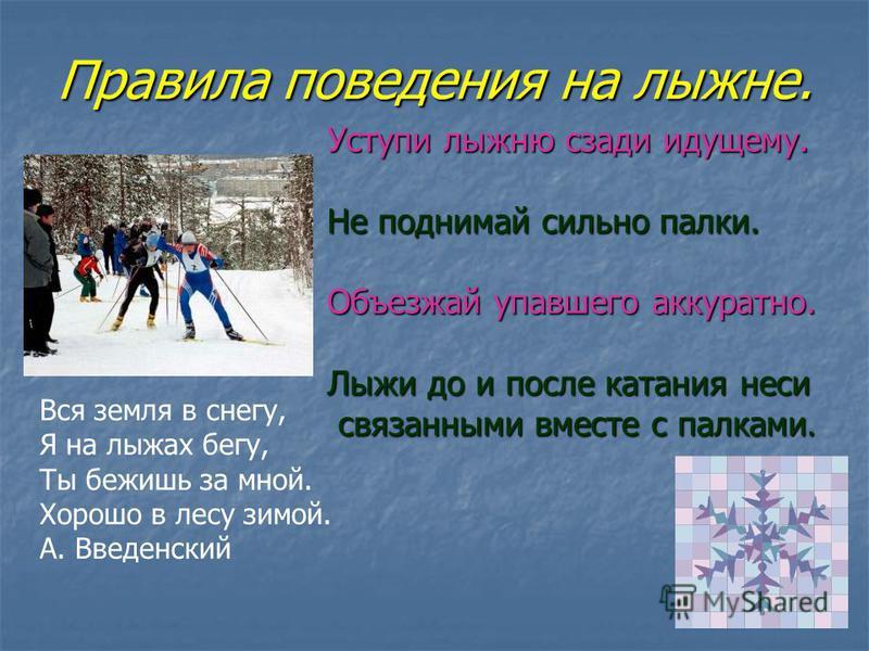 Правила поведения на лыжне. Вся земля в снегу, Я на лыжах бегу, Ты бежишь за мной. Хорошо в лесу зимой. А. Введенский Уступи лыжню сзади идущему. Не поднимай сильно палки. Объезжай упавшего аккуратно. Лыжи до и после катания неси связанными вместе с