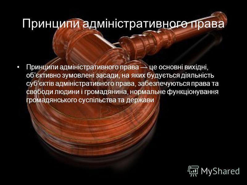 Принципи адміністративного права Принципи адміністративного права це основні вихідні, обєктивно зумовлені засади, на яких будується діяльність субєктів адміністративного права, забезпечуються права та свободи людини і громадянина, нормальне функціону
