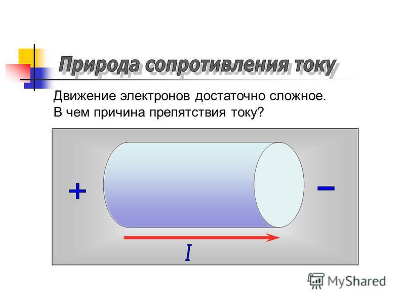 - - - - - - - Движение электронов достаточно сложное. В чем причина препятствия току?