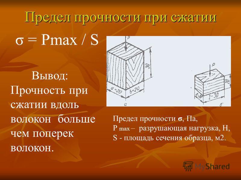 Предел прочности при сжатии Предел прочности σ, Па, P max – разрушающая нагрузка, Н, S - площадь сечения образца, м 2. σ = Pmax / S Вывод: Прочность при сжатии вдоль волокон больше чем поперек волокон.