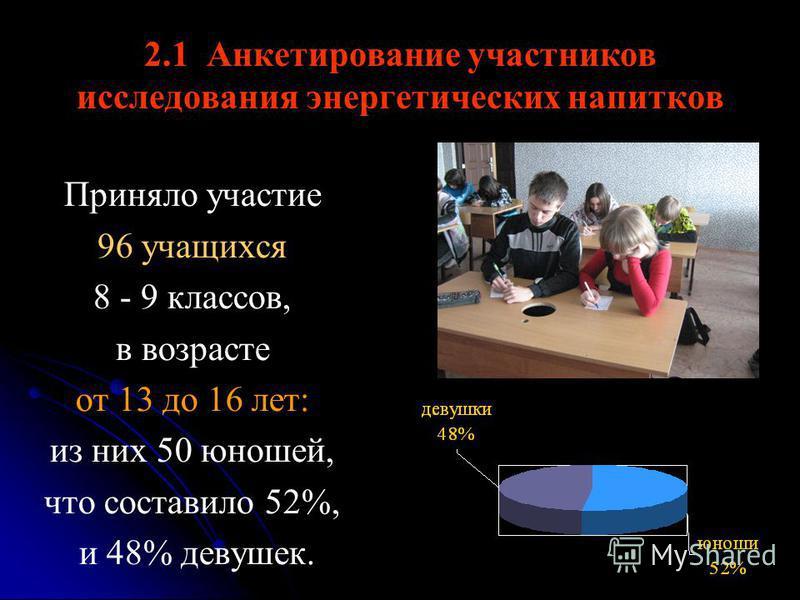 2.1 Анкетирование участников исследования энергетических напитков Приняло участие 96 учащихся 8 - 9 классов, в возрасте от 13 до 16 лет: из них 50 юношей, что составило 52%, и 48% девушек.